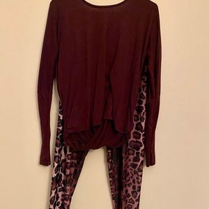Onzie Backless Maroon Yoga Top and Leopard Tights